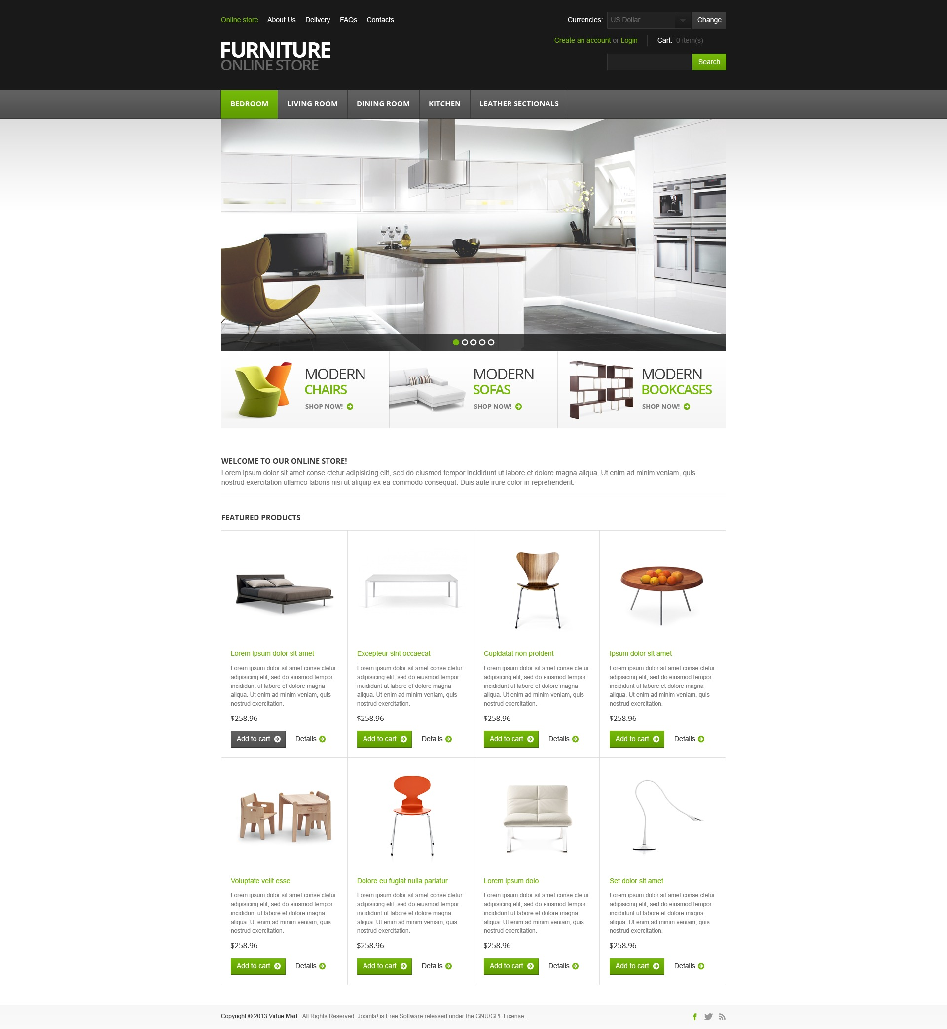 "Plantilla VirtueMart ""Furniture for Comfort"" #44973 - captura de pantalla"