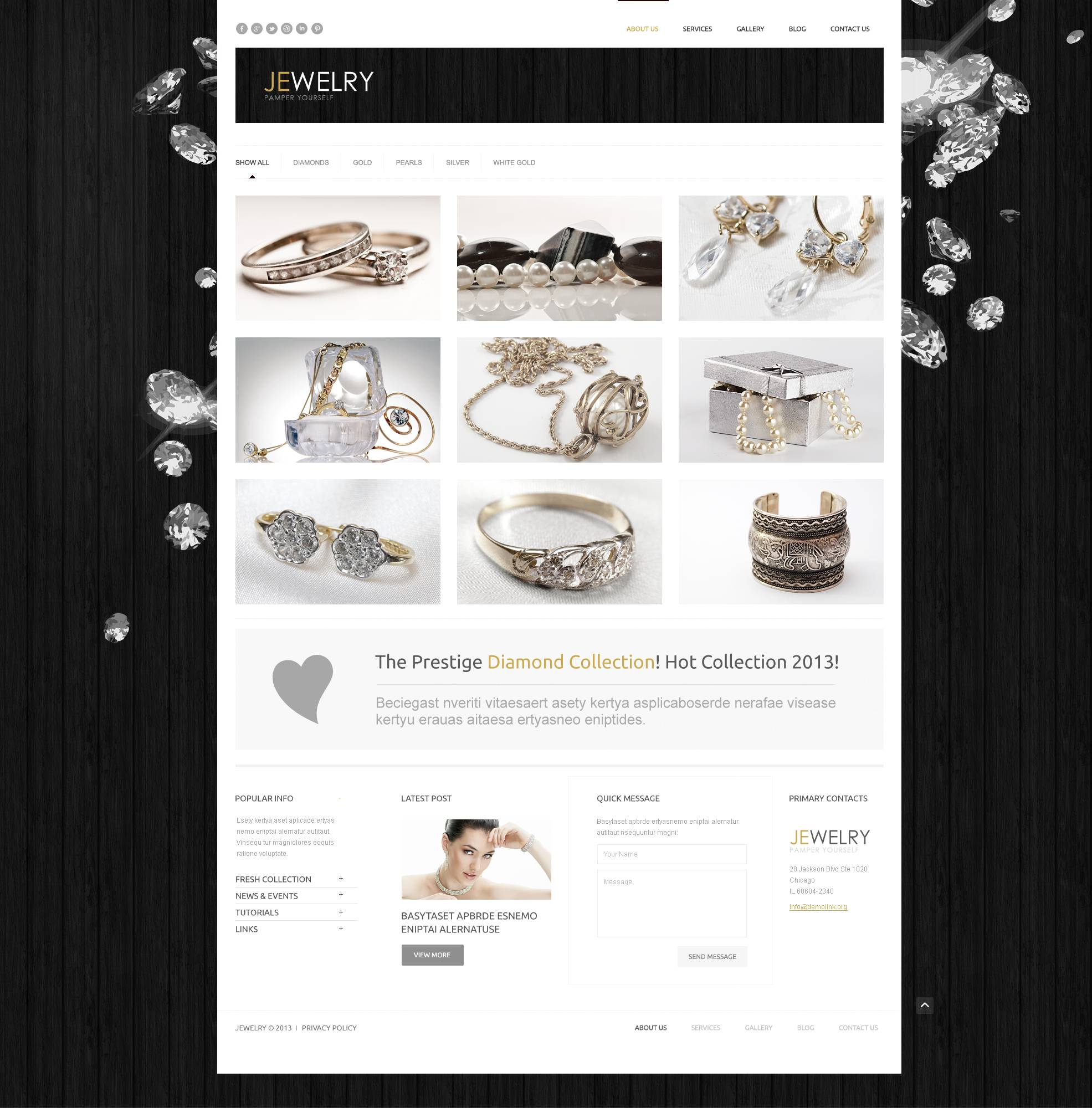 Reszponzív Ékszerek WordPress sablon 44949 - képernyőkép
