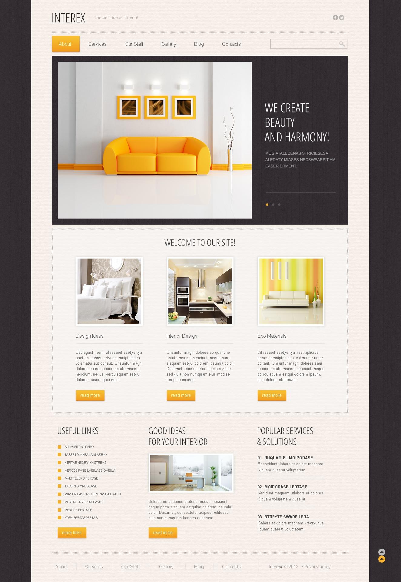 Reszponzív Minimalist Interior Design Drupal sablon 44907