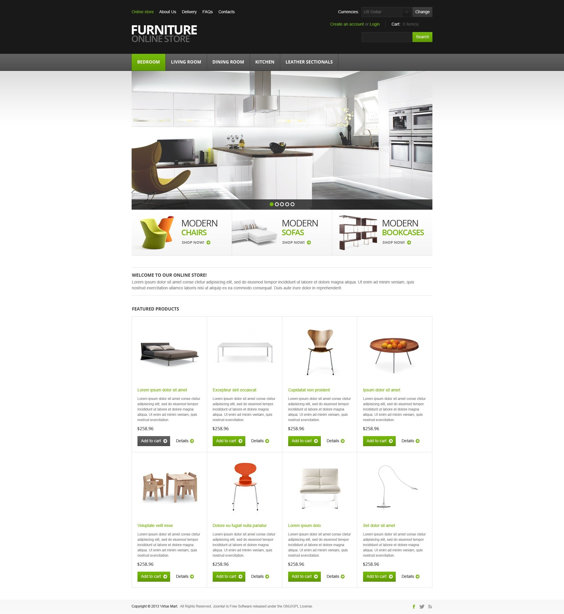"Tema VirtueMart #44973 ""Furniture for Comfort"""