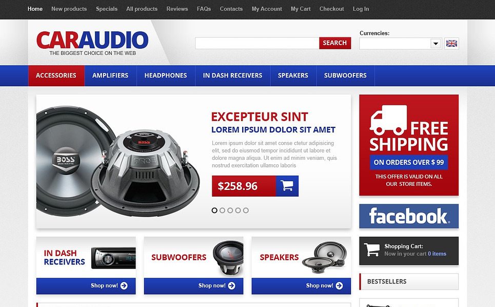 Autó hangtechnika  ZenCart sablon New Screenshots BIG