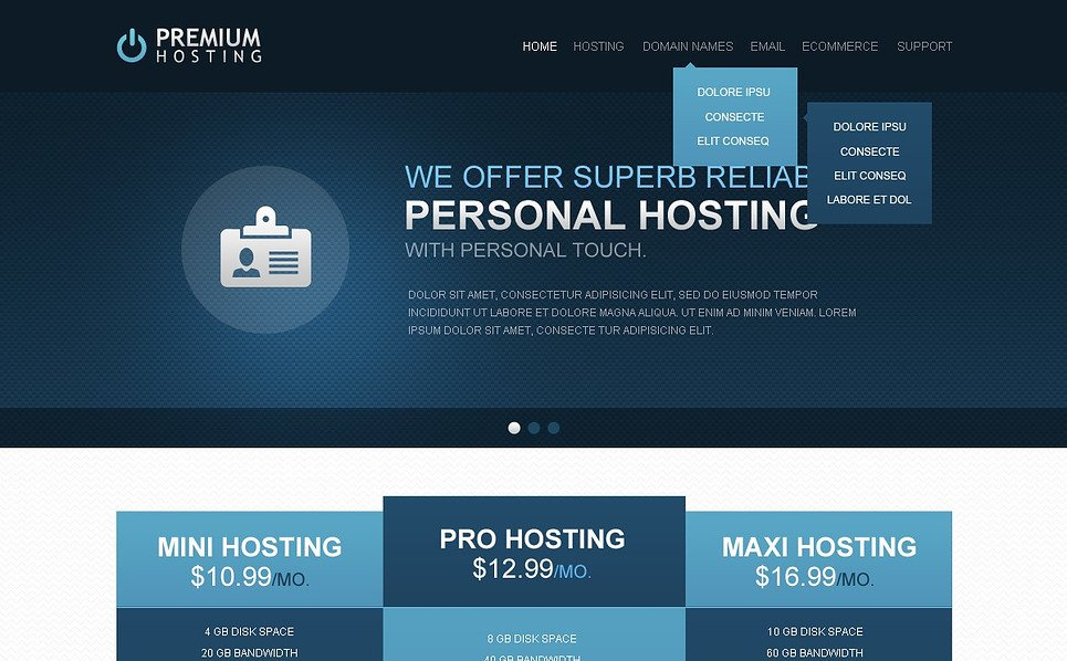 Responsive Website Vorlage für Hosting  New Screenshots BIG