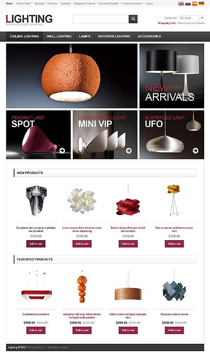 osCommerce Template 45084 Main Page Screenshot