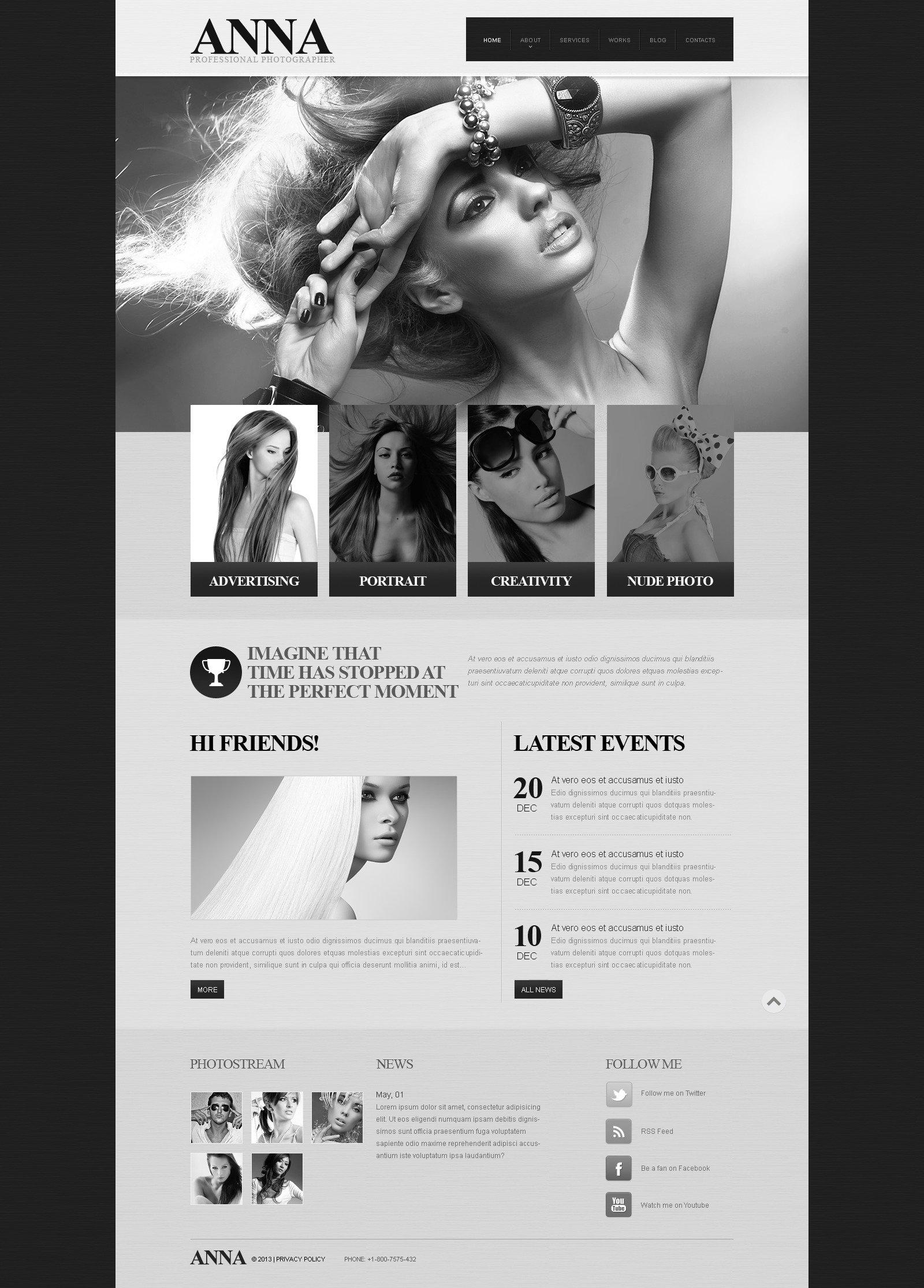 Адаптивний Шаблон сайту на тему портфоліо фотографа  №45029 - скріншот