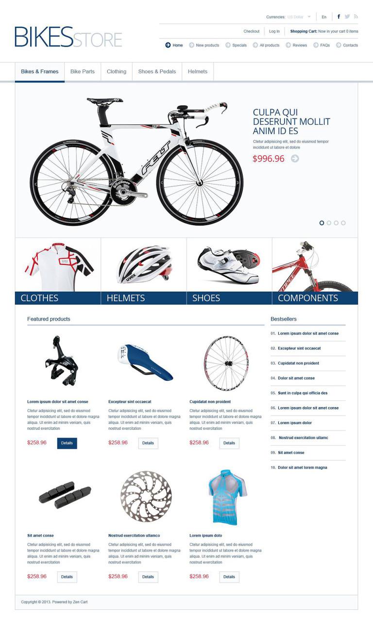 Bikes & Parts ZenCart Template New Screenshots BIG