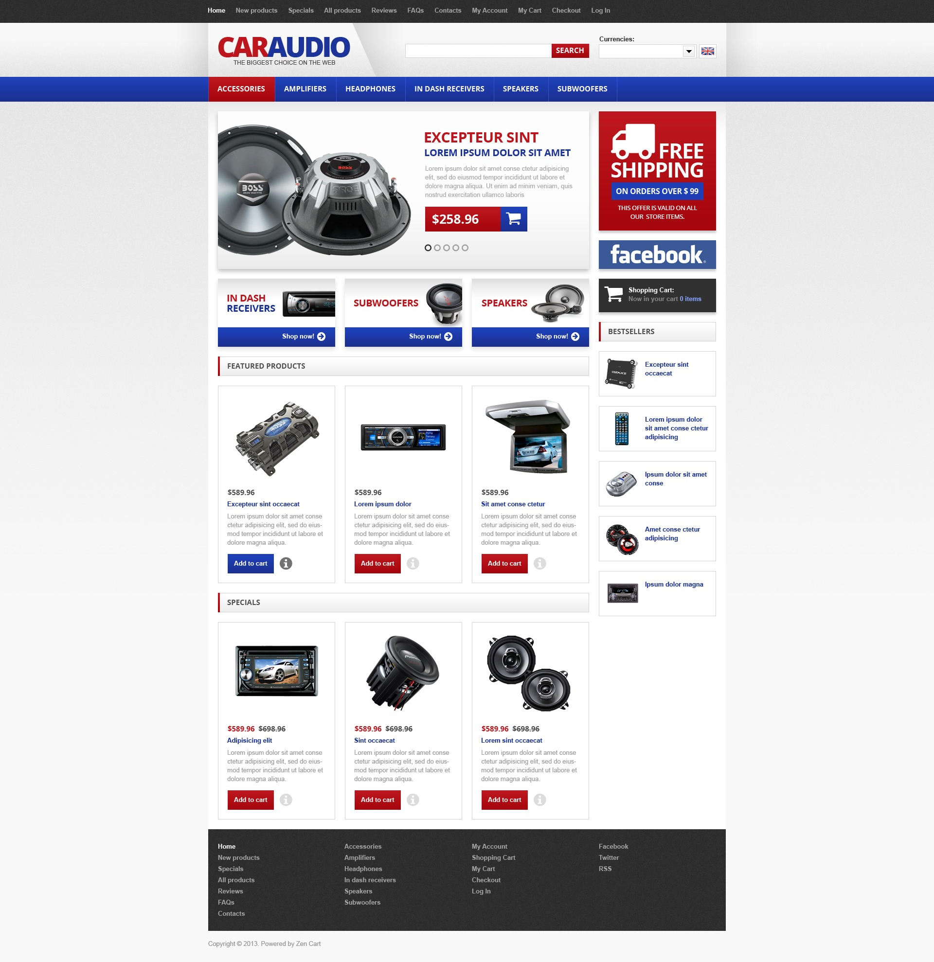 """Car Audio"" - ZenCart шаблон №45027"