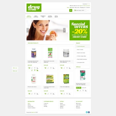 Drug store opencart templates for Opencart bookstore template