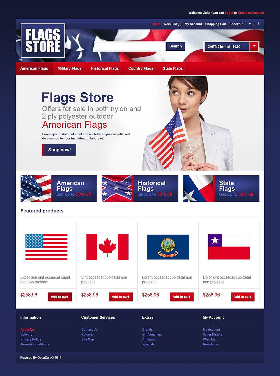 Flags Store OpenCart Template New Screenshots BIG