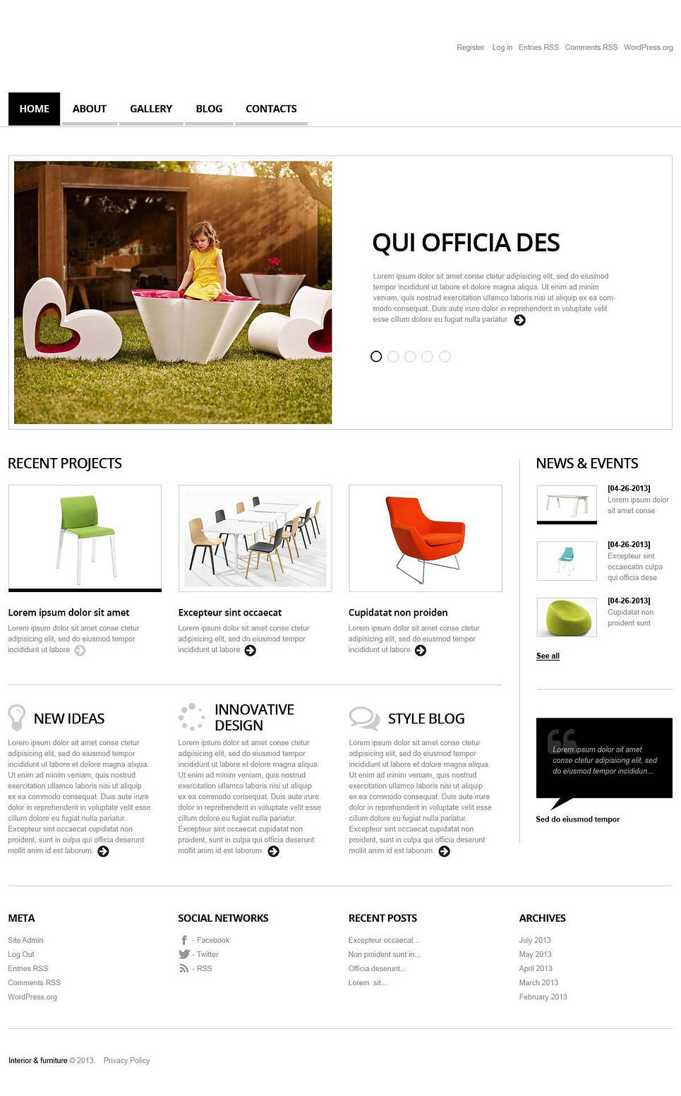wordpress splash page template - interior and furniture wordpress theme 45062