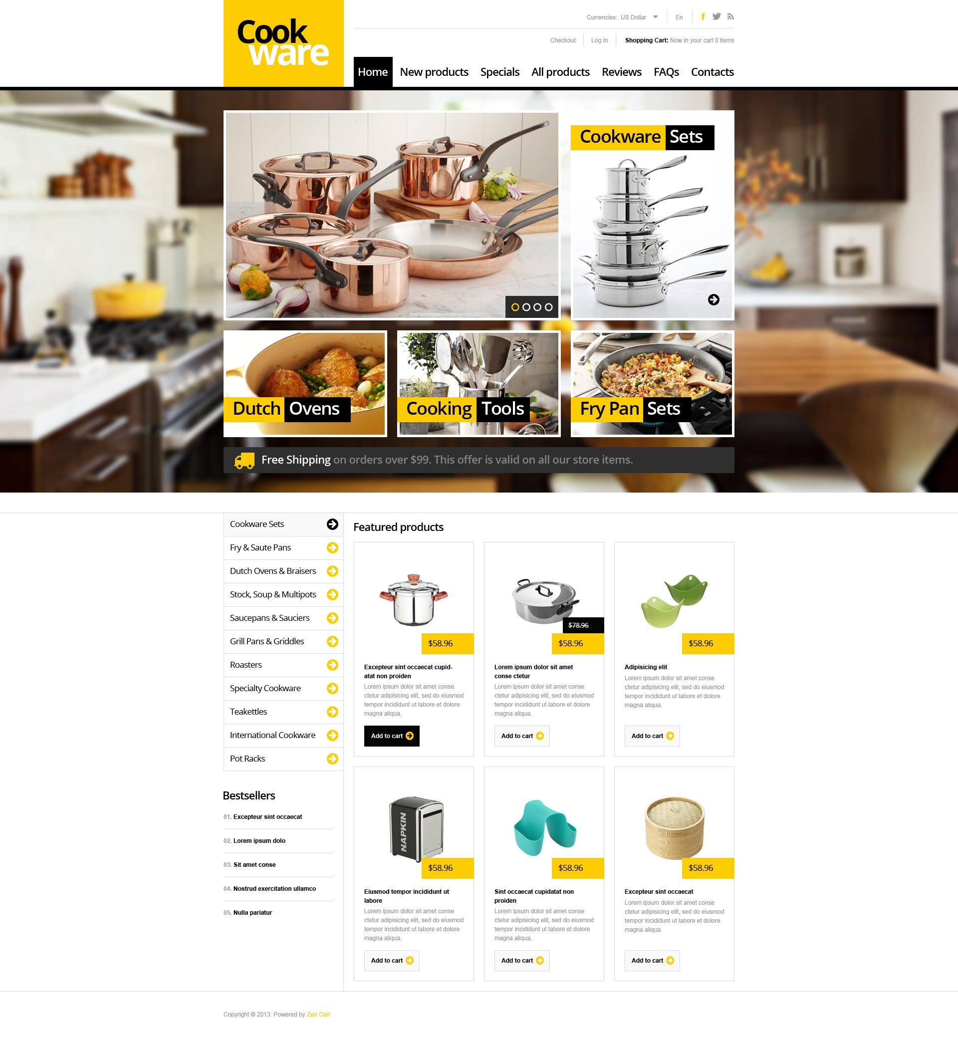 """Modello ZenCart #45026 """"Finest Cookware"""""""