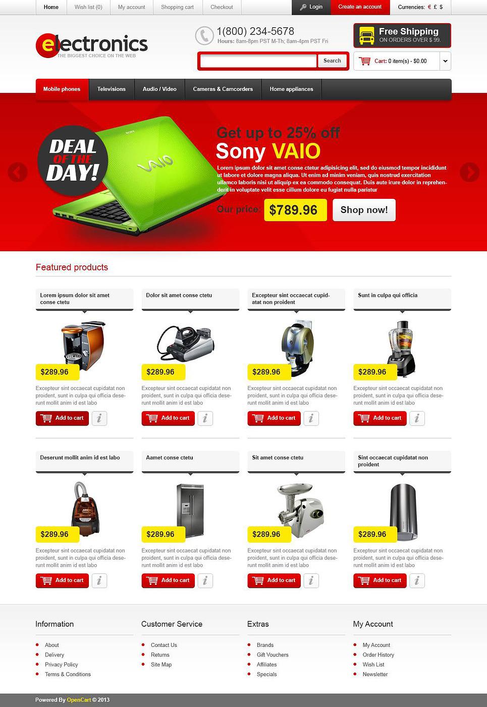 Quality Electronics OpenCart Template New Screenshots BIG