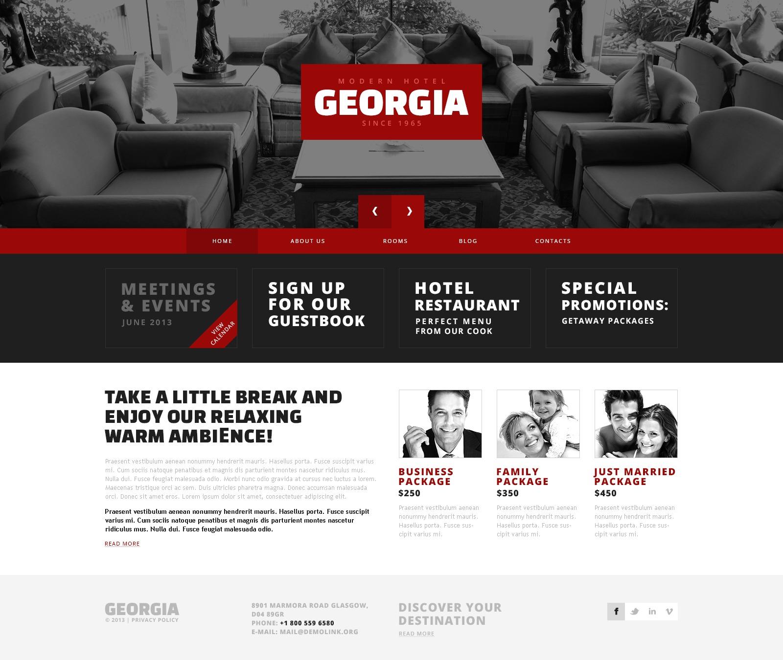 """Red Contrast Hotels"" - адаптивний WordPress шаблон №45049 - скріншот"