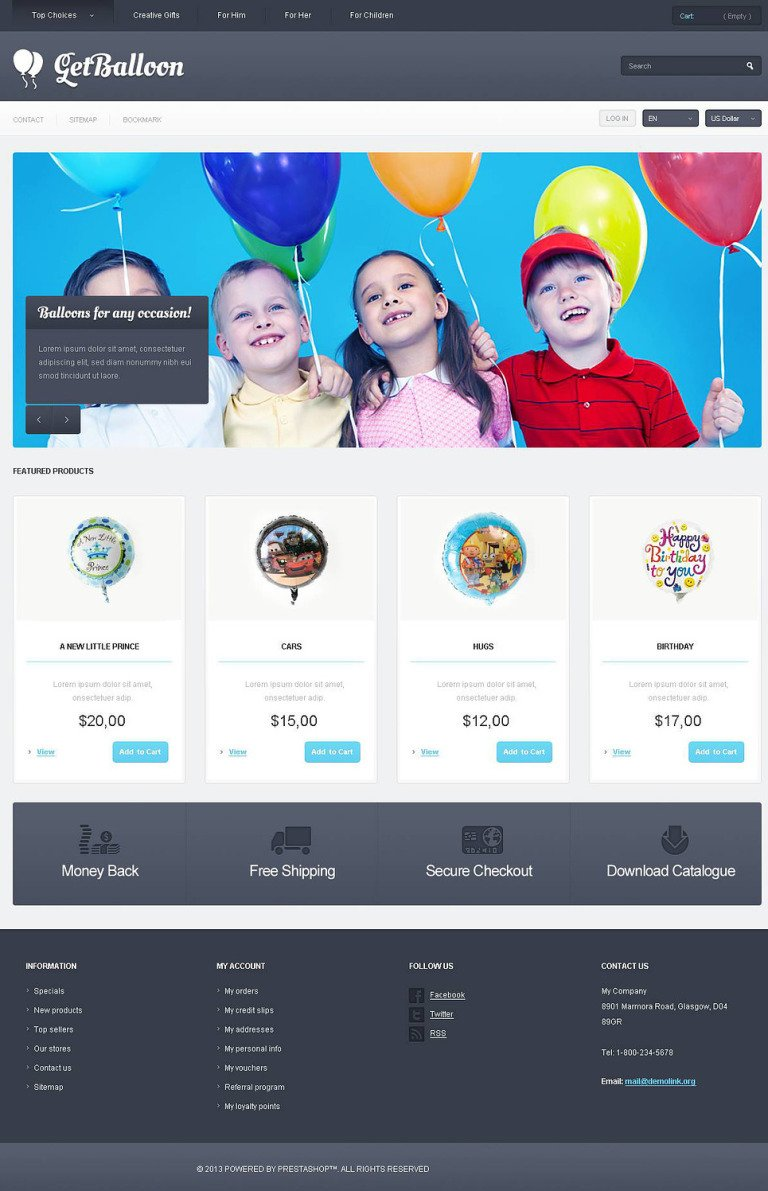Responsive Balloons Store PrestaShop Theme New Screenshots BIG