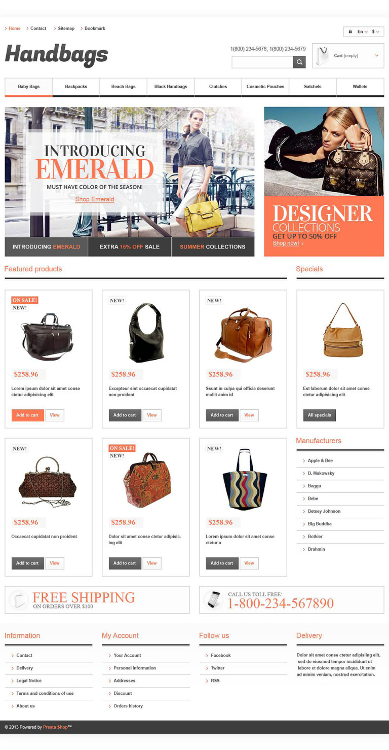Responsive Handbags Boutique PrestaShop Theme New Screenshots BIG