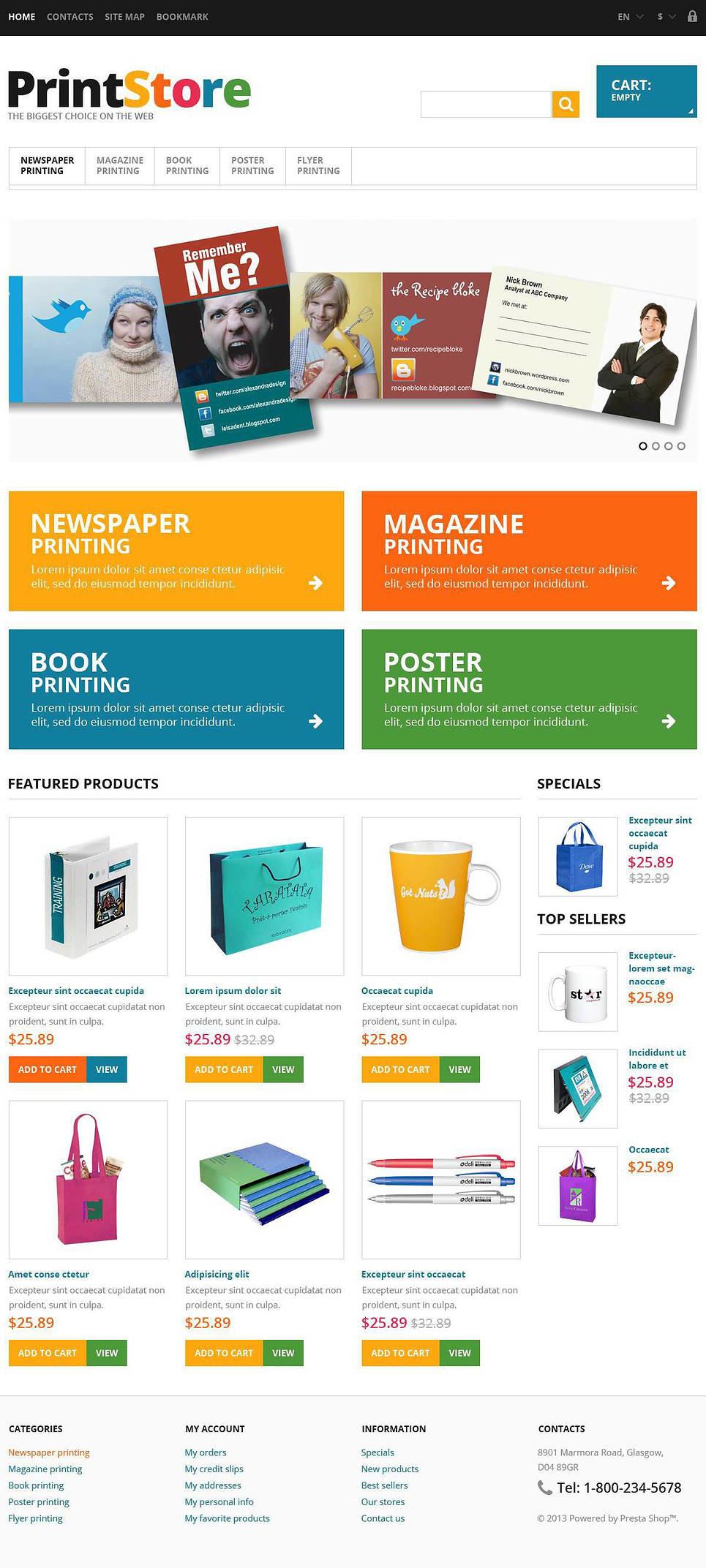 Responsive Print Store PrestaShop Theme New Screenshots BIG