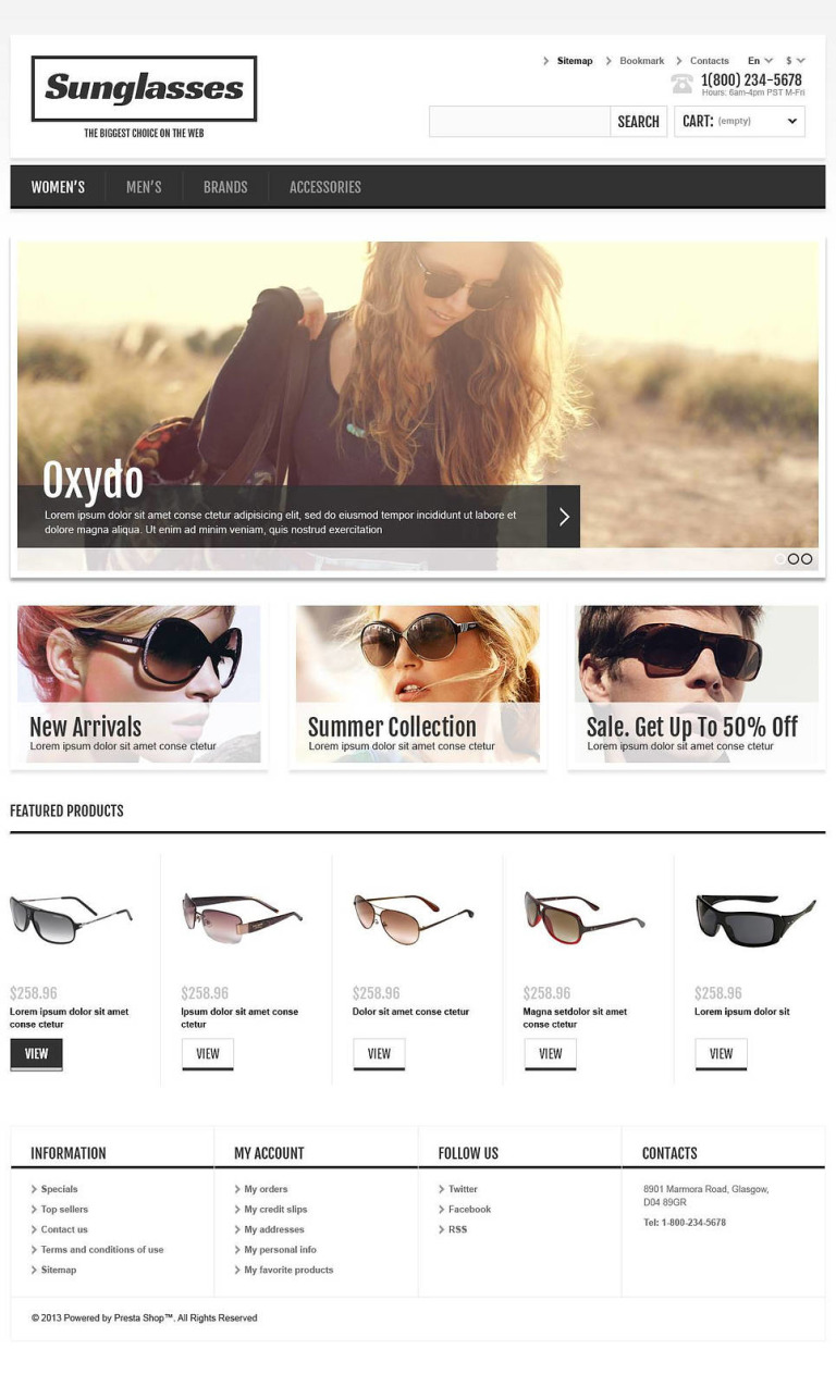 Responsive Sunglasses Store PrestaShop Theme New Screenshots BIG