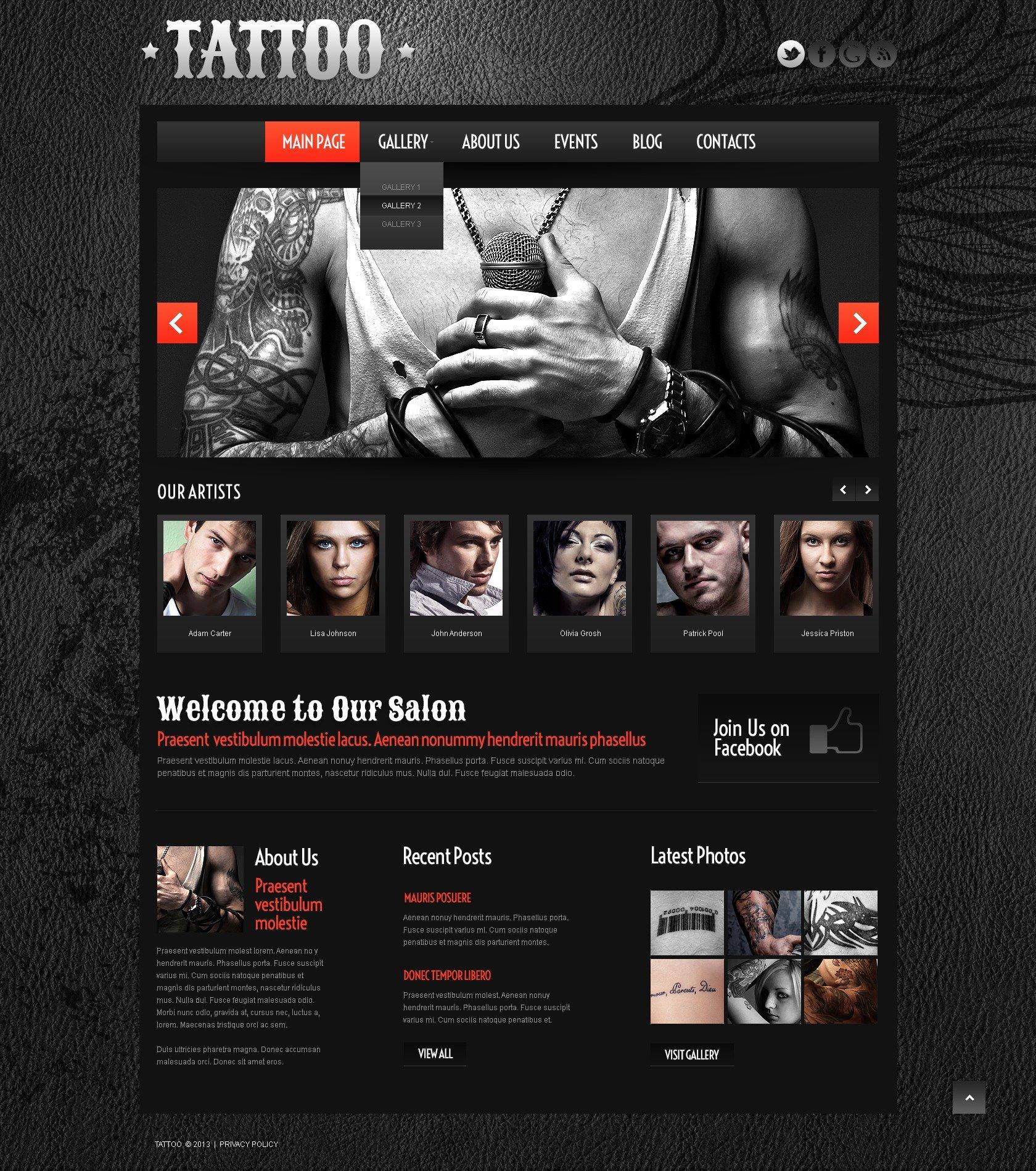 Responsivt Tattoo Salon WordPress-tema #45028 - skärmbild