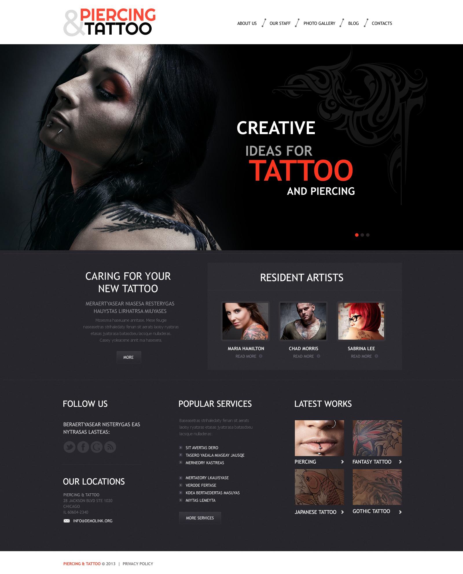 "Responzivní WordPress motiv ""Tattoo Art Salon"" #45008 - screenshot"