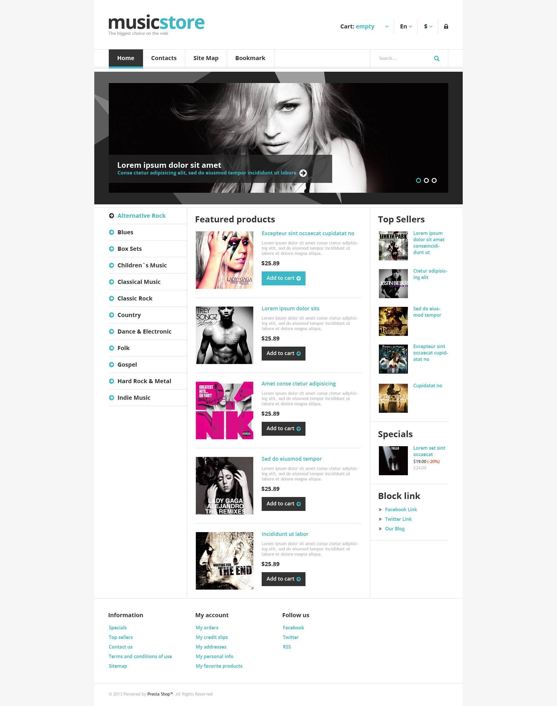 Reszponzív Responsive Music Store PrestaShop sablon 45064 - képernyőkép