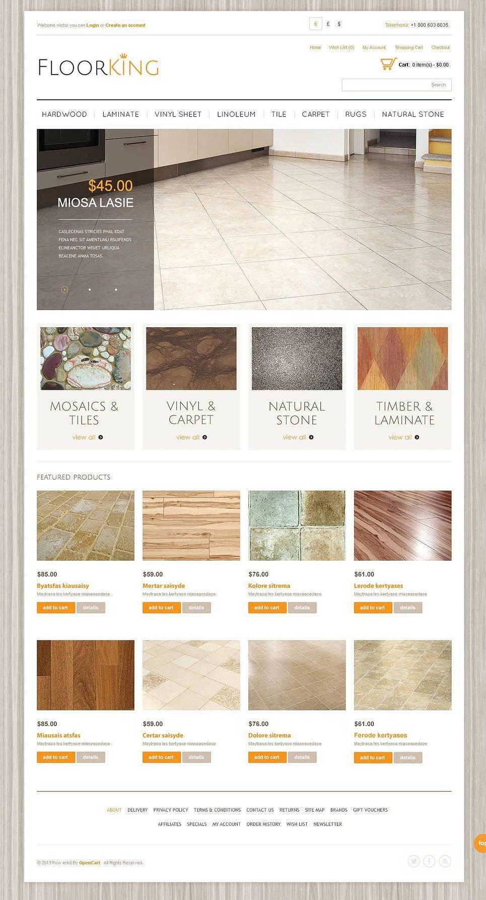Royal Flooring OpenCart Template New Screenshots BIG