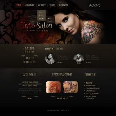 tattoo salon templates templatemonster. Black Bedroom Furniture Sets. Home Design Ideas