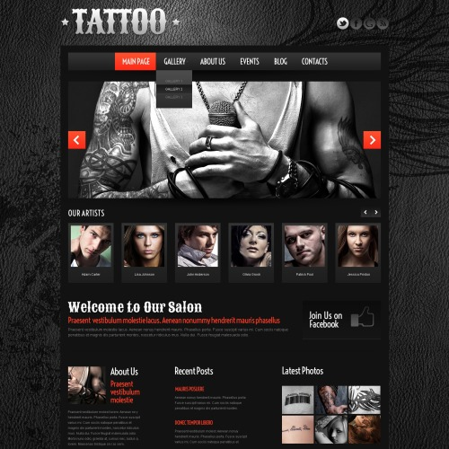 Tattoo  - WordPress Template based on Bootstrap