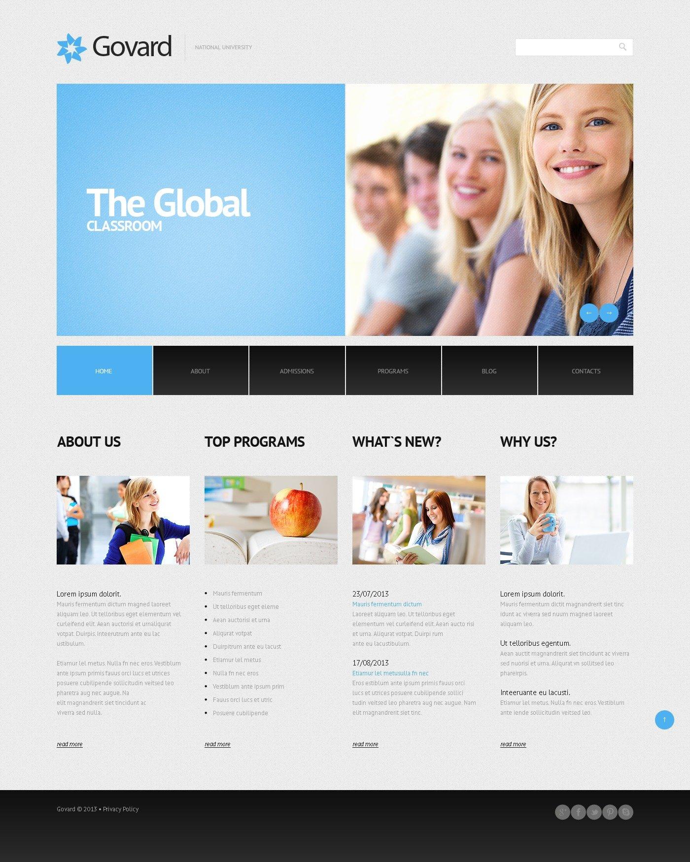 Tema De WordPress Responsive para Sitio de Universidades #45013 - captura de pantalla