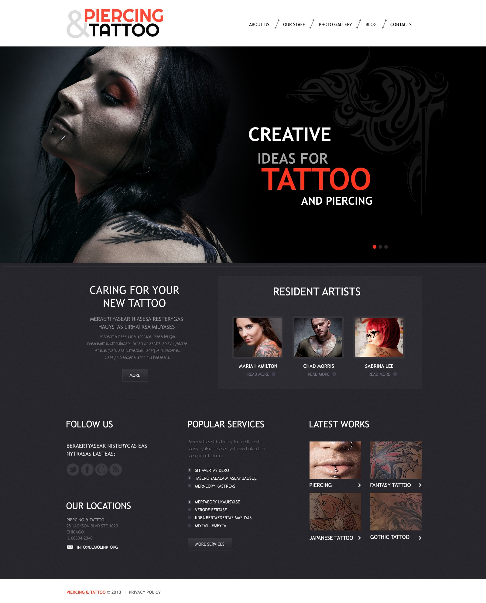 "Tema De WordPress ""Tattoo Art Salon"" #45008 - captura de pantalla"
