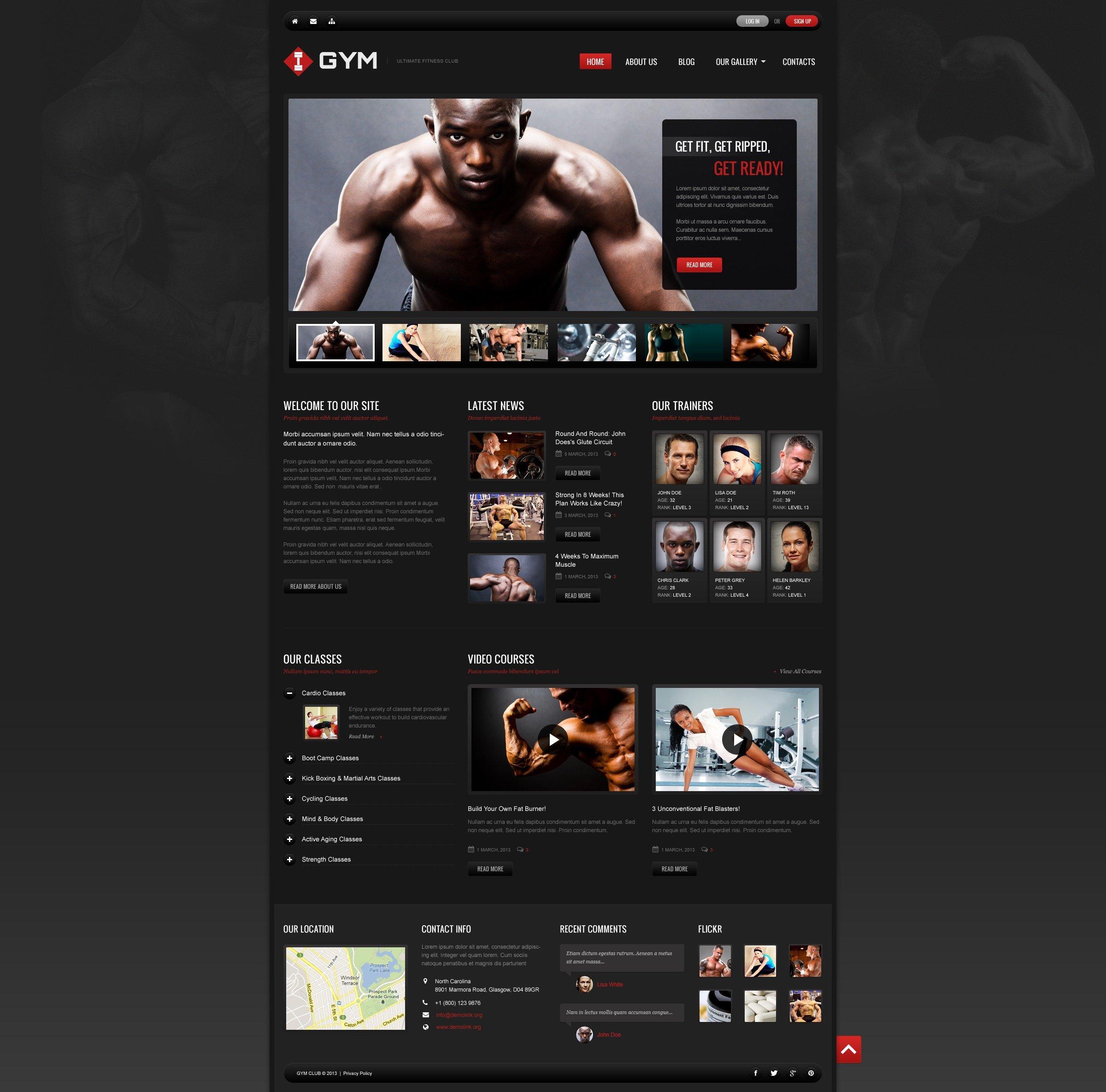 """Ultimate Fitness"" 响应式WordPress模板 #45051 - 截图"