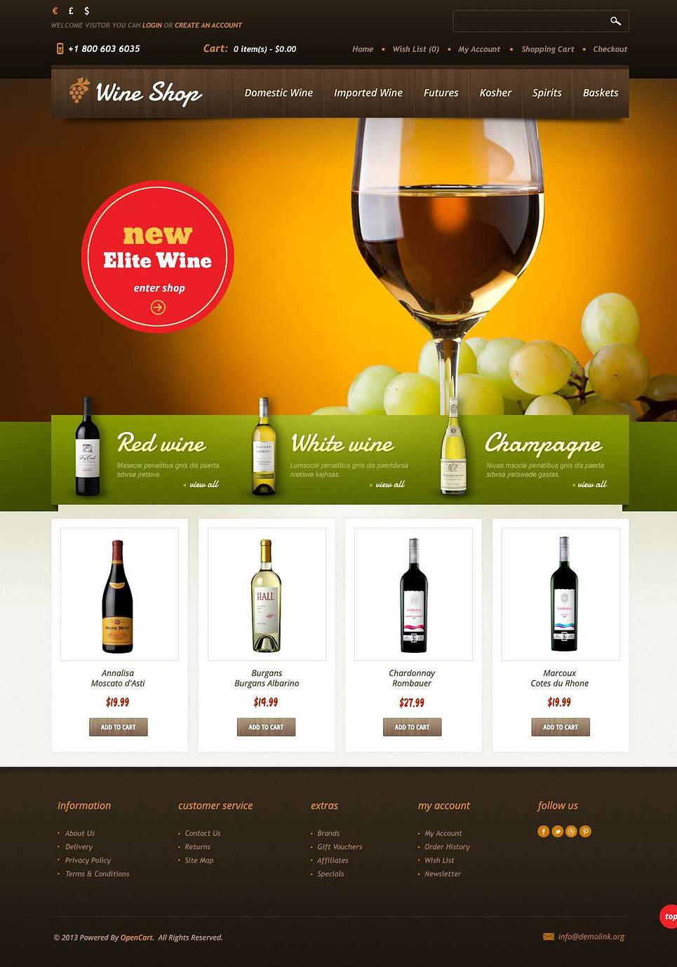 Wine Shop OpenCart Template New Screenshots BIG
