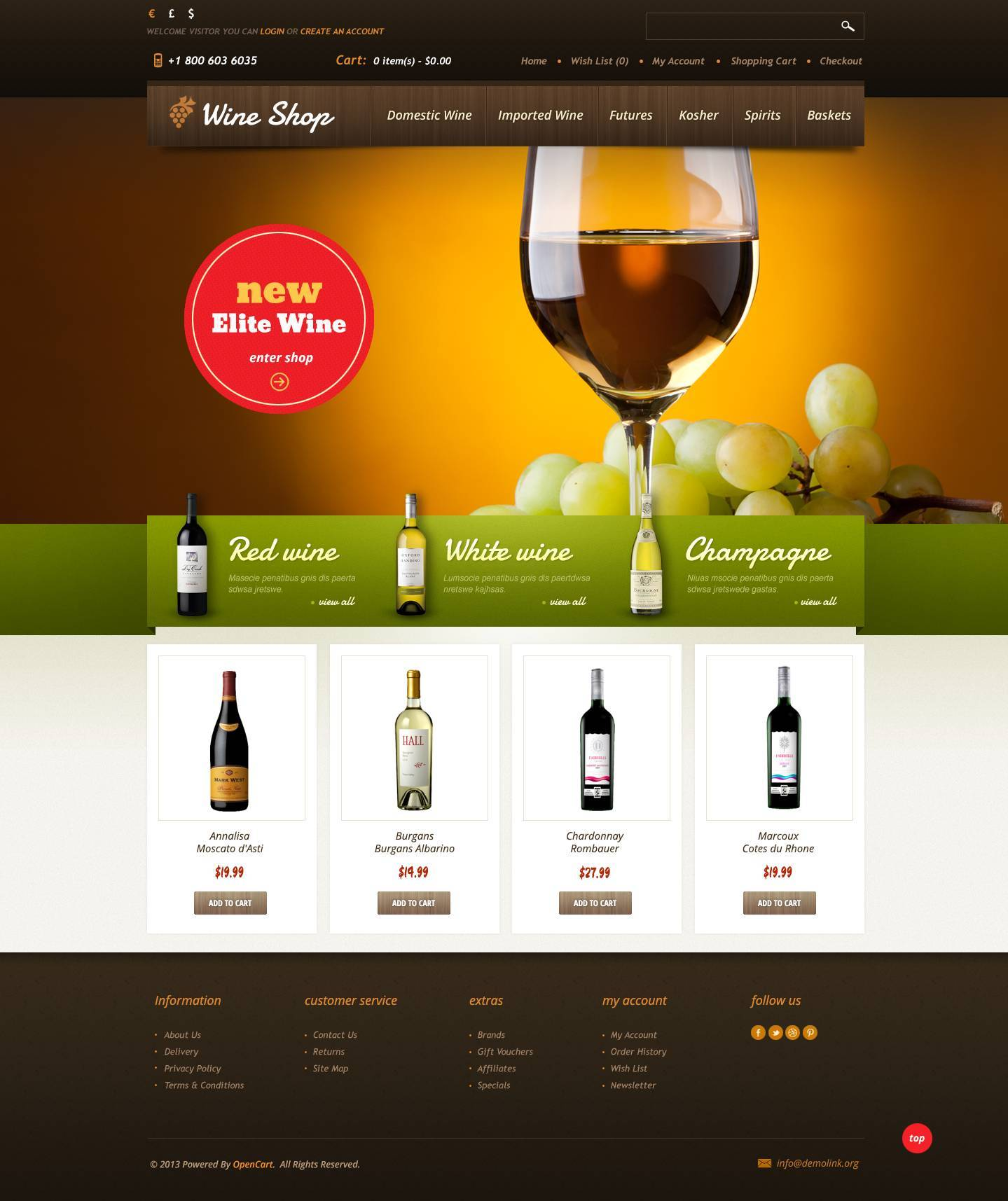 wine shop opencart template 45066