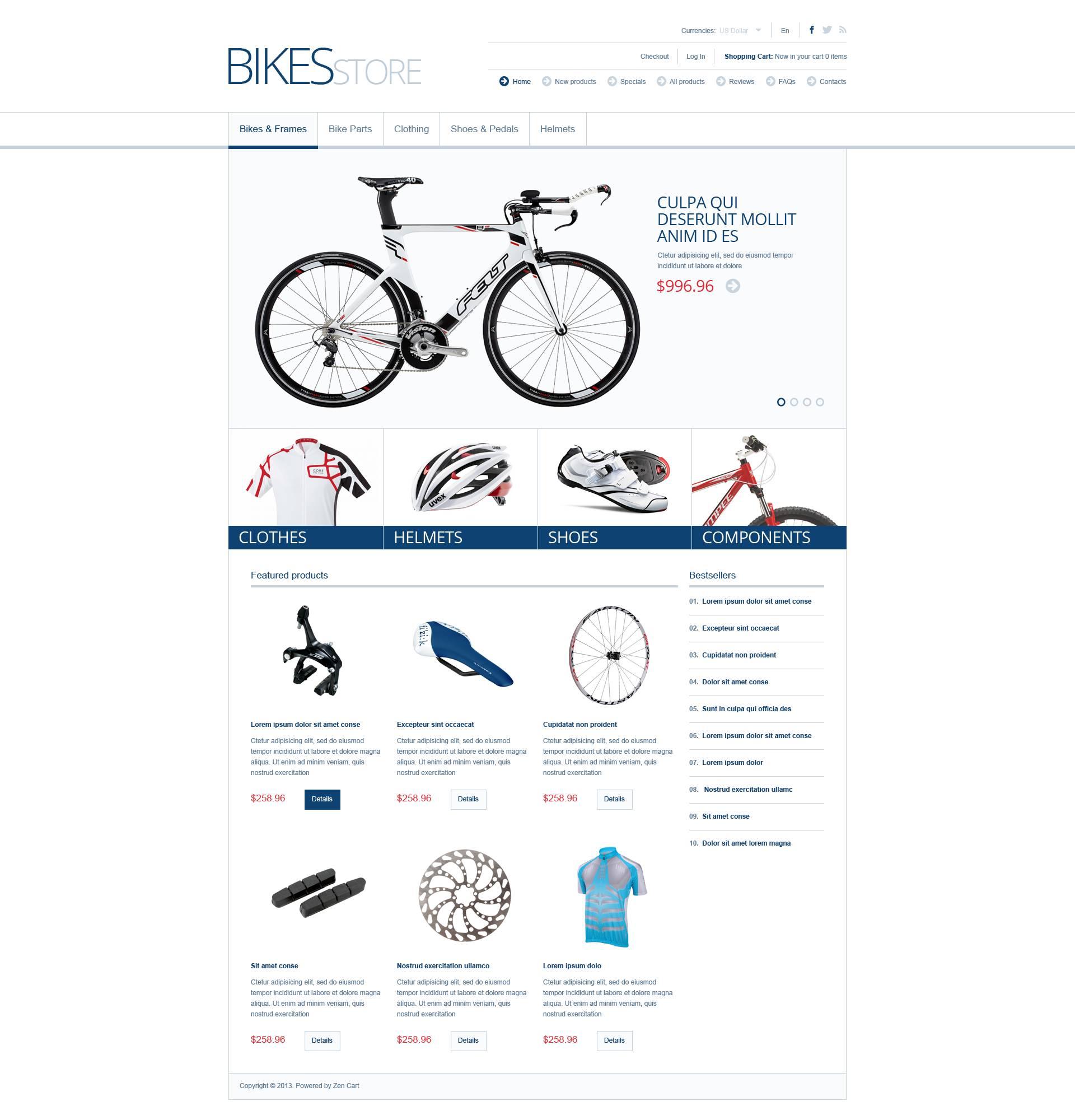 """ZenCart Vorlage namens """"Bikes & Parts"""" #45088"""