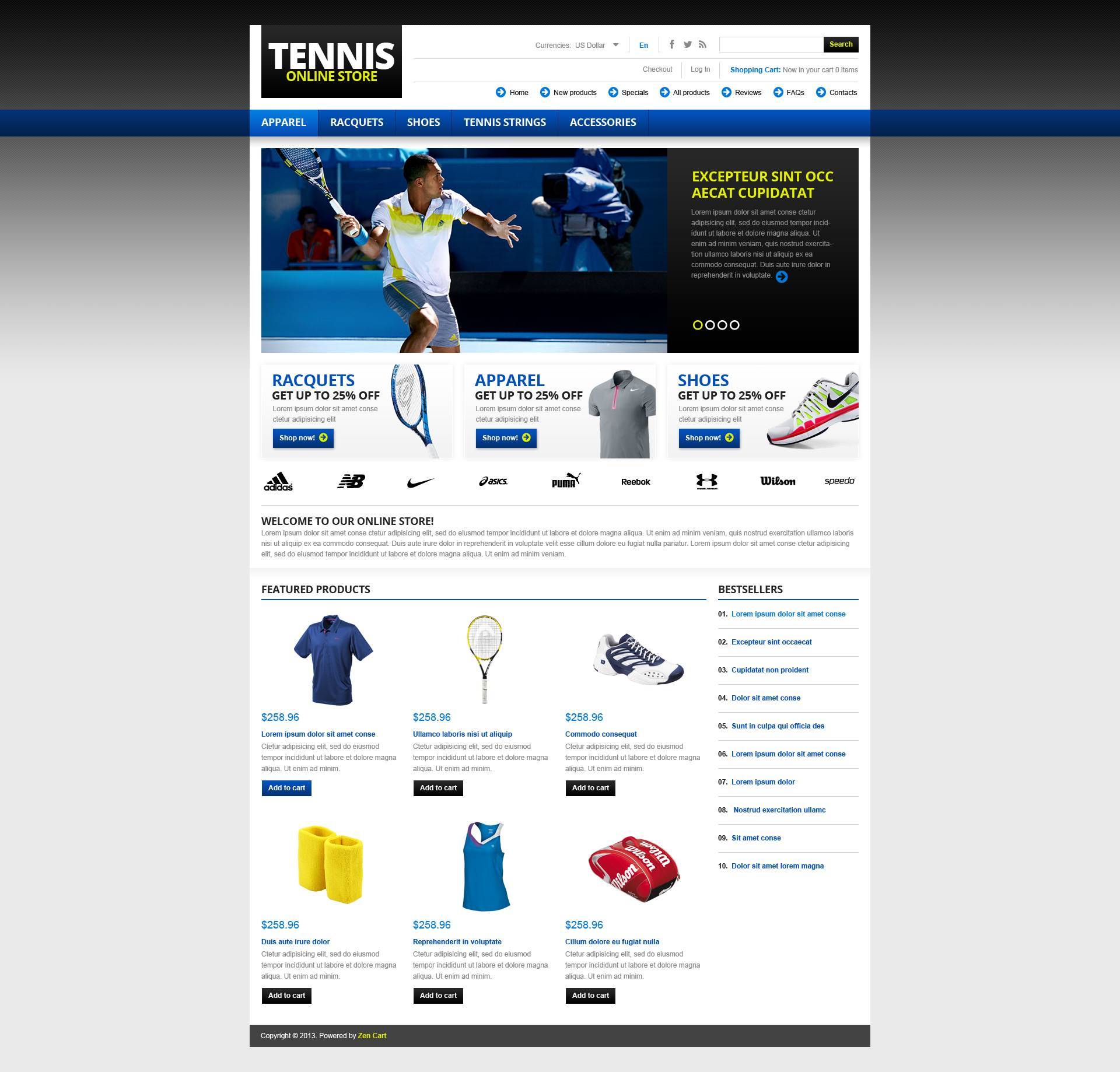 """ZenCart Vorlage namens """"Tennis Store"""" #45087"""