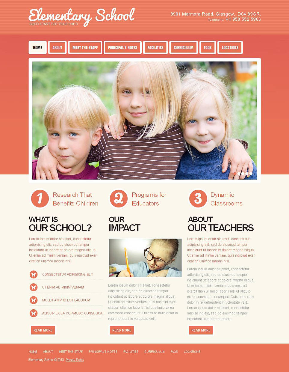 Elementary School Web Template Done in Peach Colors - image