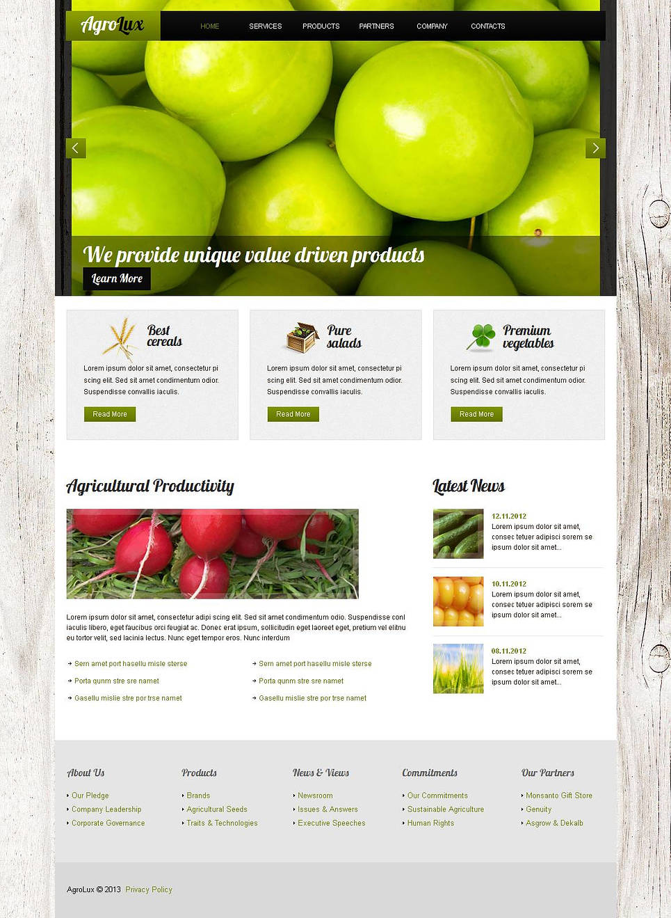 Agriculture Website Template with Wood Textured Background - image
