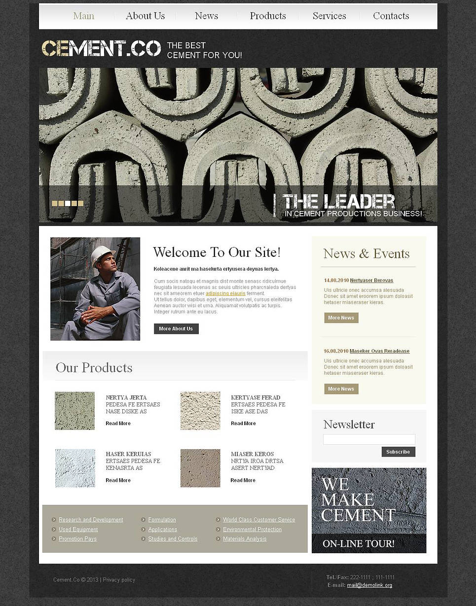 Cement Manufacturer Website Template Done in Gray Color - image