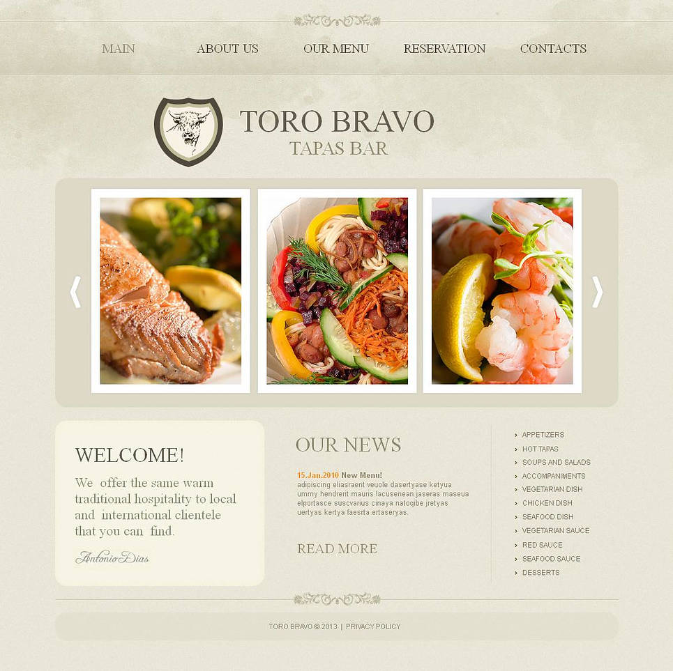 Spanish Traditional Cuisine Website Template - image
