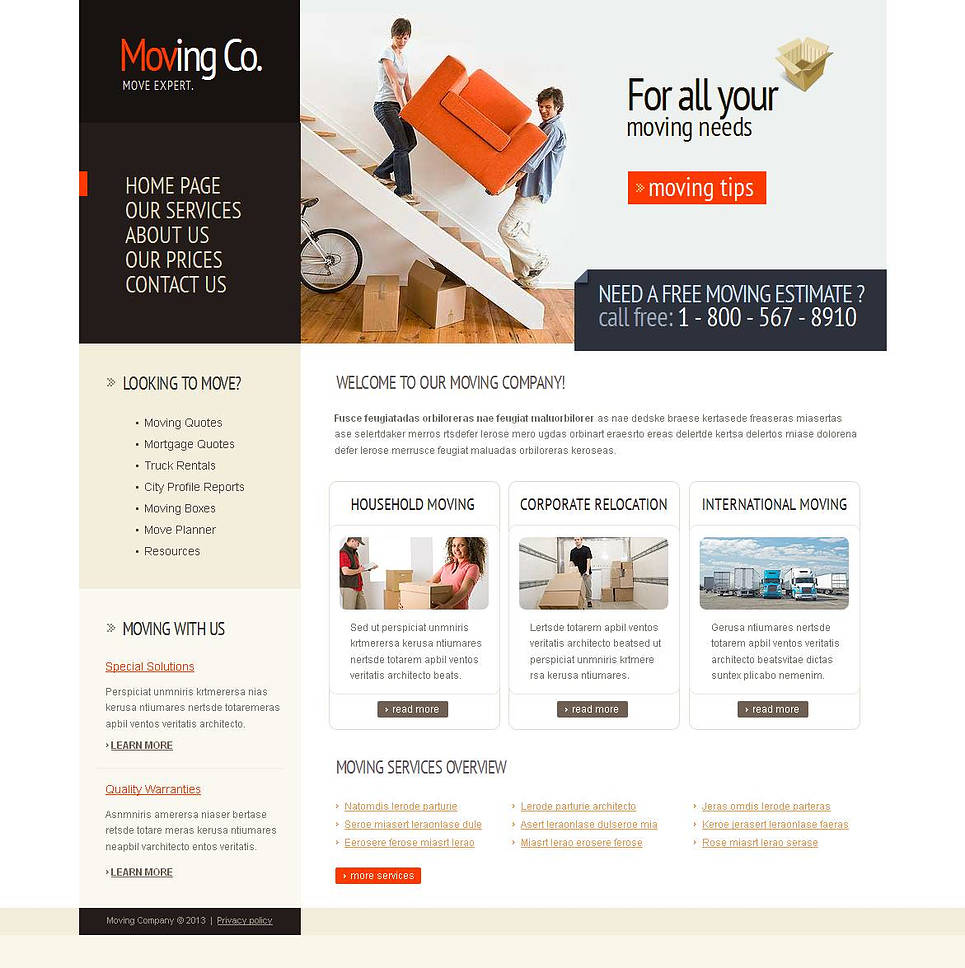 Easy to Navigate Moving Company Website Template - image