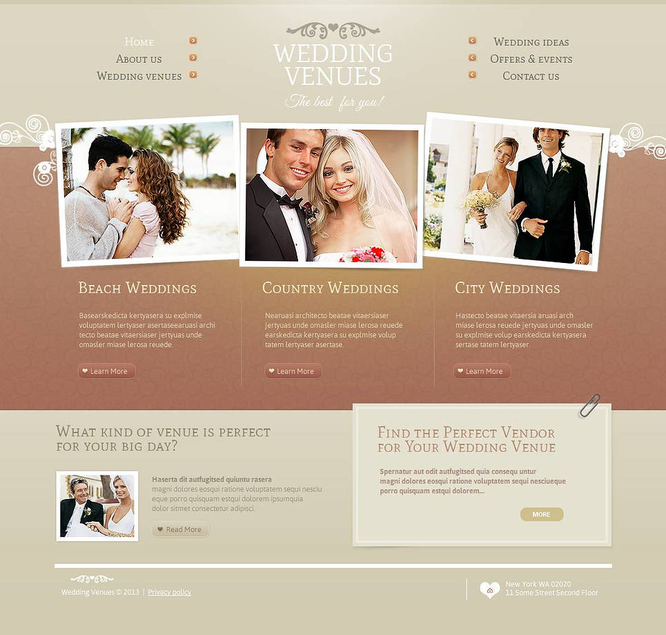 Wedding Venues Website Template with a Menu Dropped in 2 Columns - image