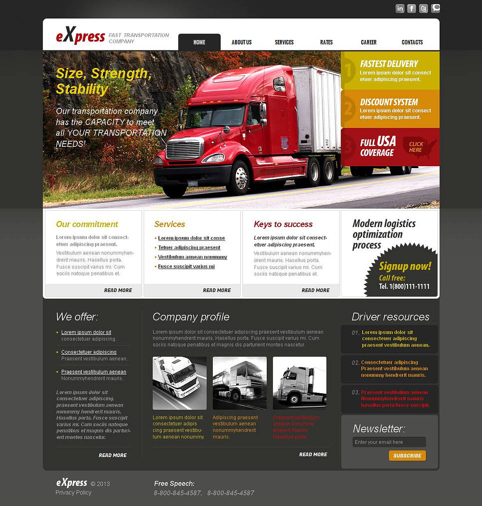 Content-Rich Transportation Firm Website Template - image