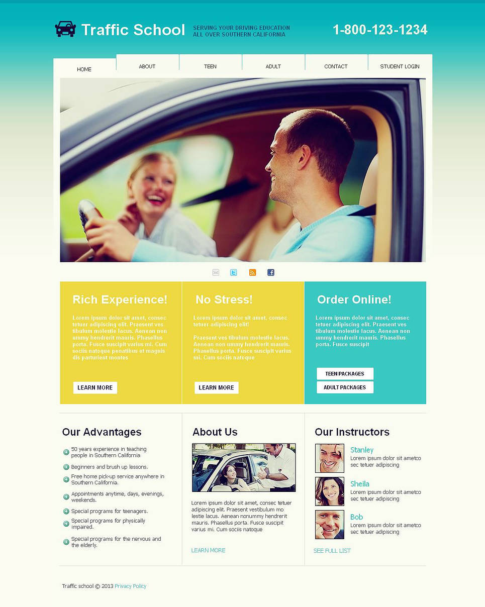 Driving School Website Template with a jQuery Slider - image