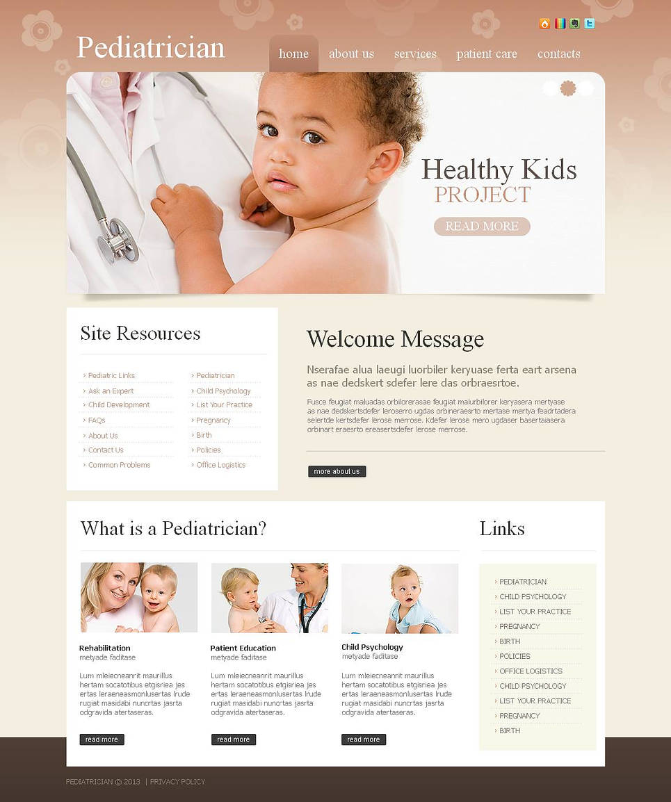 Pediatrician Website Template Created in Pastel Tones - image