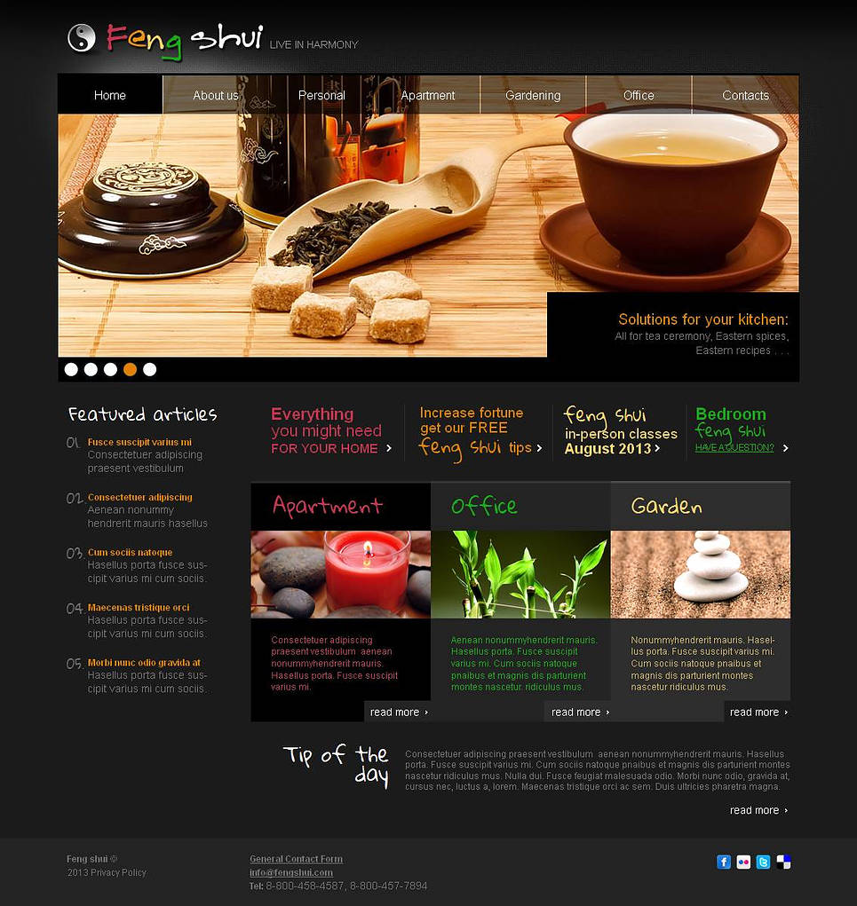 Creative Feng Shui Design Website Template with Original Typography - image