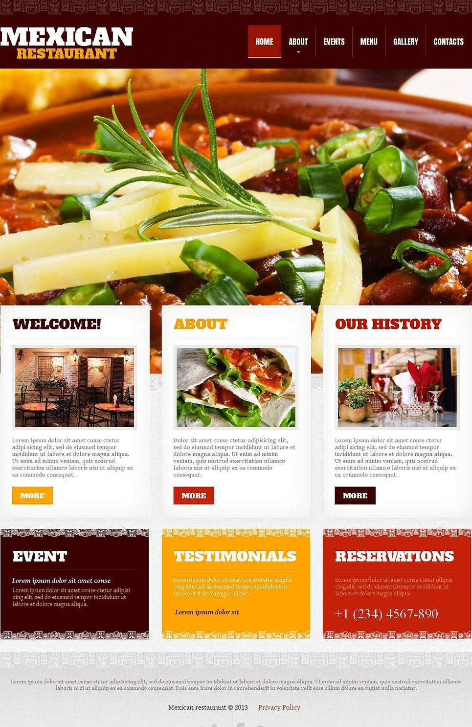 Restaurant Website Template with Grid Photo Gallery - image