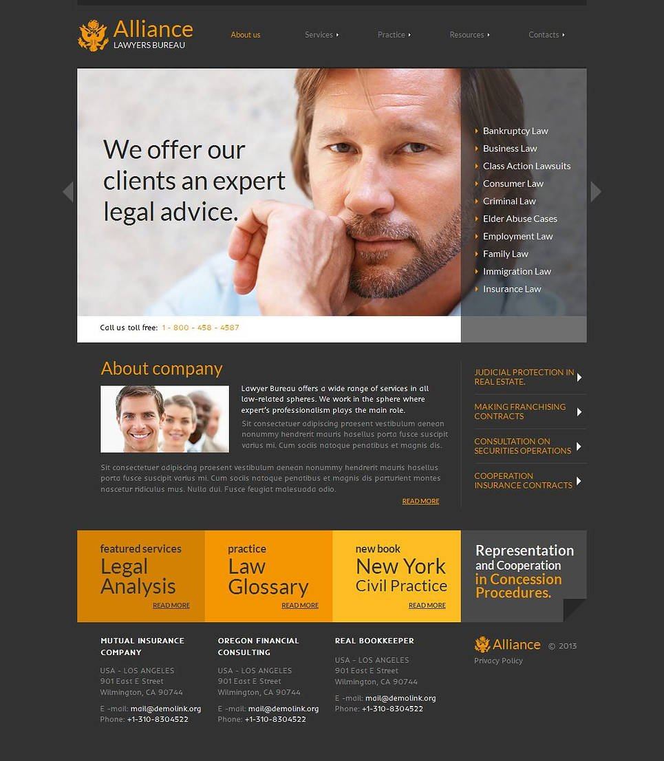 Law Firm Website Template with Dark Gray Background - image