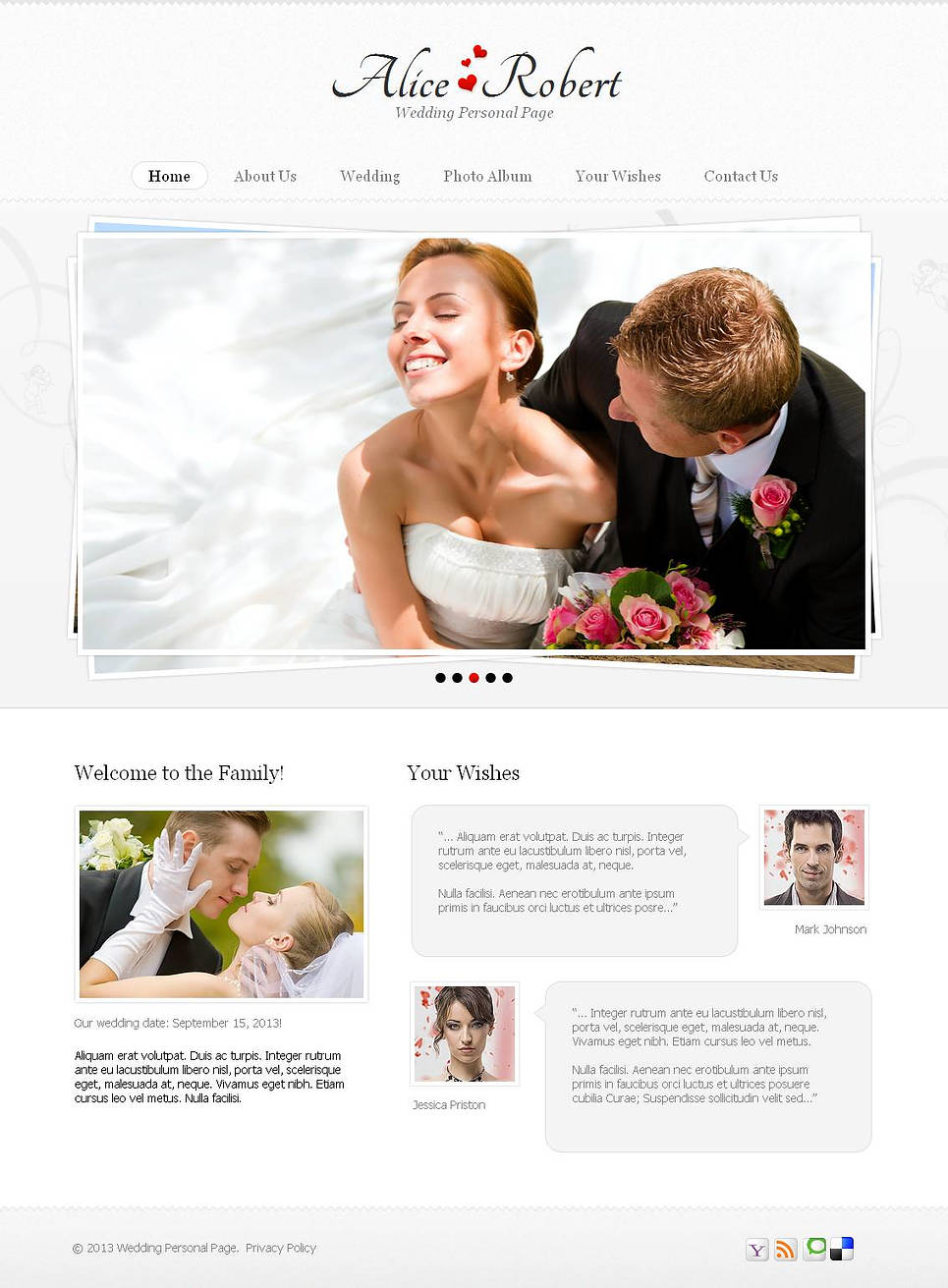 White Wedding Web Template with Grid Photo Gallery - image
