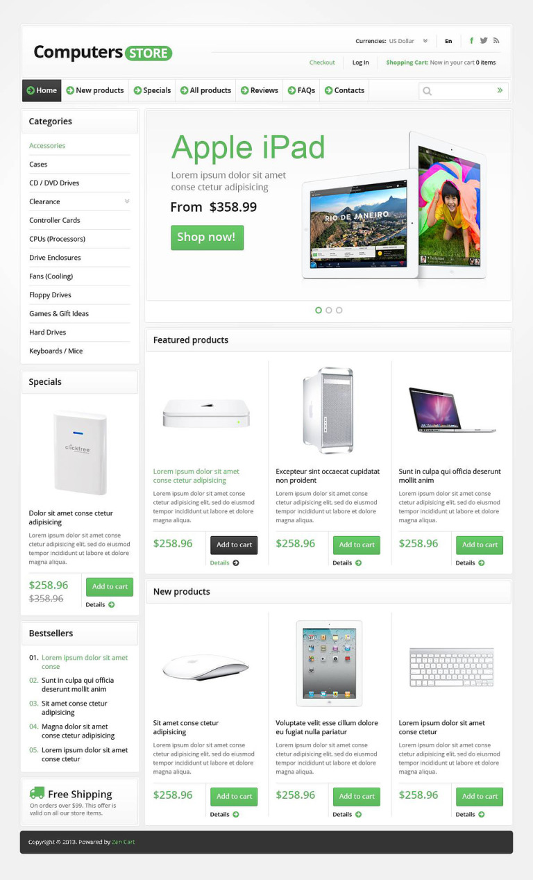 Computers Store ZenCart Template New Screenshots BIG