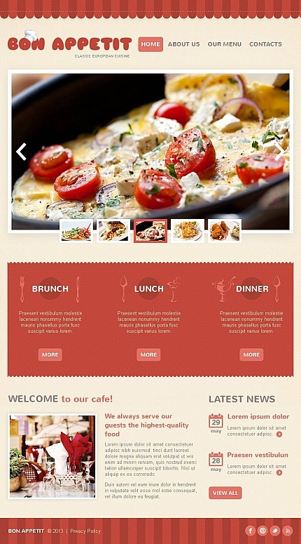 European Restaurant Facebook HTML CMS Template Facebook Screenshot