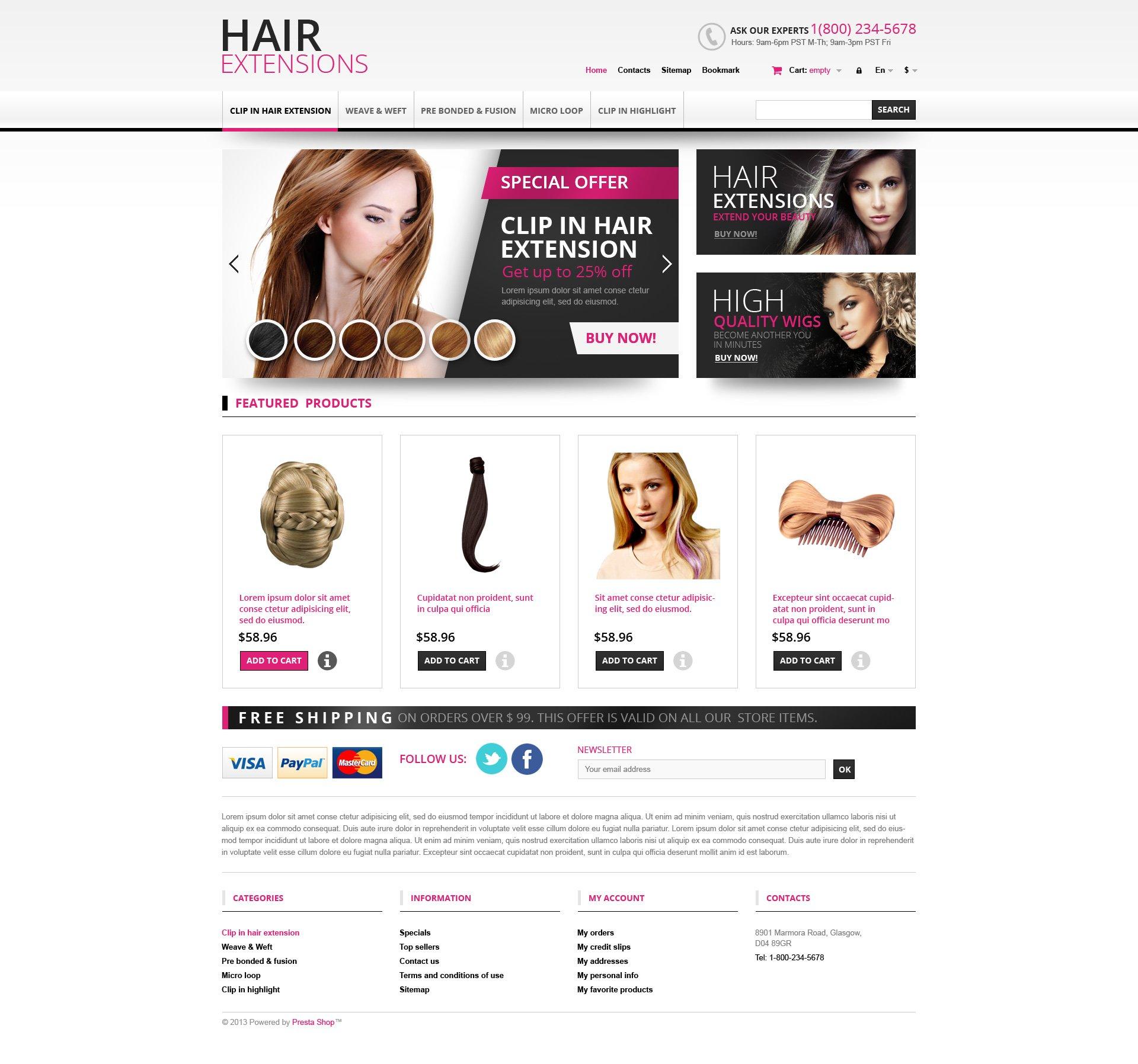 """Hair Extensions Store"" - адаптивний PrestaShop шаблон №45167"
