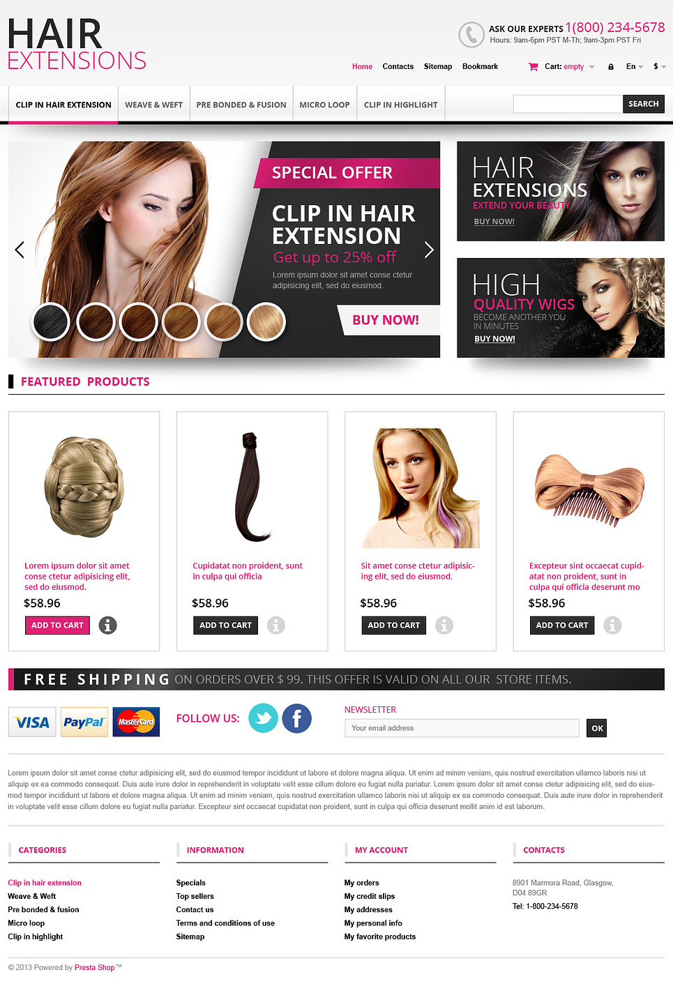Hair Extensions Store Prestashop Theme 45167